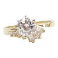 Faux Diamond 1.36 ctw Fashion Ring 14k Gold