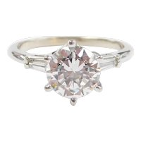 Faux Diamond 2.71 ctw Engagement Ring 14k White Gold