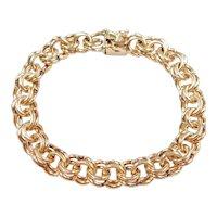 "Solid Double Link Charm Bracelet 14k Gold 7 1/2"" Length, 32.9 Grams"