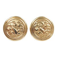 Statement Ornate Button Stud Earrings 14k Gold