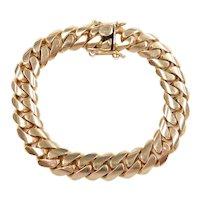 "Impressive Gents Solid Miami Cuban / Curb Link Bracelet 14k Gold 8 3/4"" Length, 81.4 Grams ~ Men's"