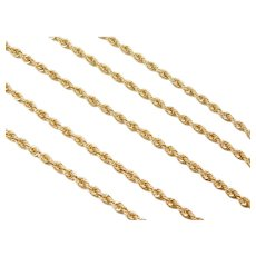 """24 1/2"""" Long 14k Gold Hollow Rope Chain ~ 5.1 Grams"""