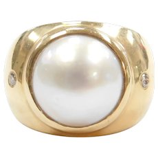 Mabe Pearl and Diamond .06 ctw Fashion Ring 14k Gold