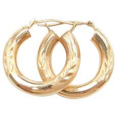 Hollow Hoop Earrings 14k Gold