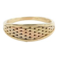 Woven Band Ring 14k Gold Tr-Color