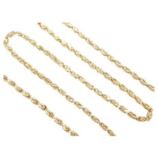 """Fancy Marquise Link Chain 14k Gold 18 1/4"""" Length, 12.7 Grams"""