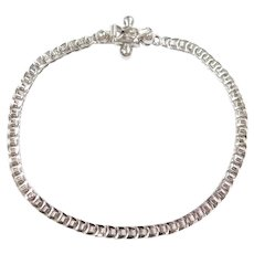 "Link Bracelet 18k White Gold 7"" Length, 7.2 Grams"