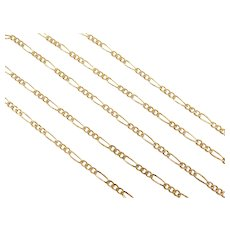 "Figaro 3:1 Link Chain 14k Gold 17"" Length, 3.8 Grams"