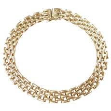 "Panther Link Bracelet 14k Gold 7 1/4"" Length, 16.5 Grams"