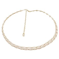 "Cultured Pearl Woven Necklace 14k Gold 14 1/2"" - 18"" Length, 10.2 Grams"