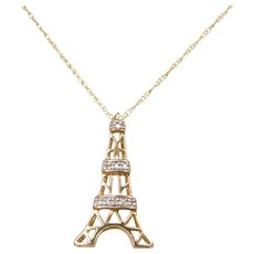 "18"" 10k Gold Diamond Eiffel Tower Necklace with Diamond Accents"