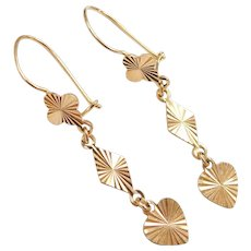 18k Gold Clover, Diamond and Heart Shape Dangle Earrings
