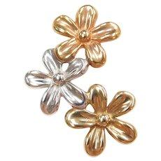 14k Gold Tri-Color Flower Pendant