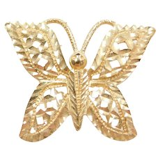 14k Gold Butterfly Pendant