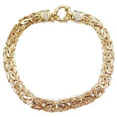 """7"""" 14k Gold Byzantine Bracelet with Diamond Accents"""