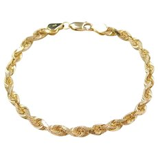 "7"" 14k Gold Rope Bracelet"