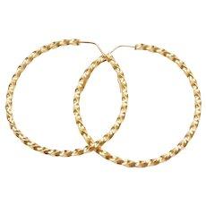 18k Gold Big Twisted Hoop Earrings