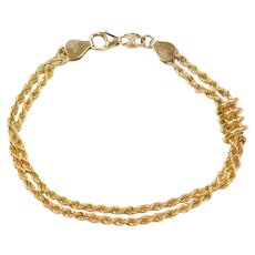 "7 1/4"" 14k Gold Double Row Coil Rope Bracelet"