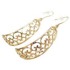 14k Gold Ornate Earrings