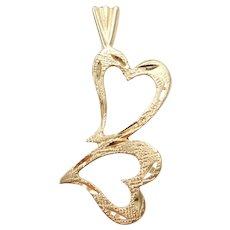 14k Gold Double Heart Pendant / Charm