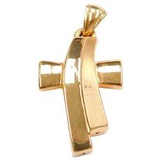 14k Gold Puff Cross Pendant
