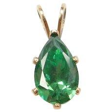 14k Gold Imitation Emerald Pendant