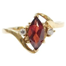14k Gold Garnet and Diamond Ring