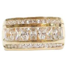14k Gold Wide Faux Diamond Ring