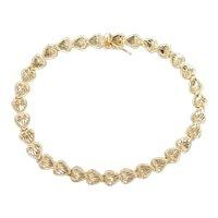 """Diamond Cut Heart Bracelet  14k Gold 7"""" Length, 6.0 Grams"""
