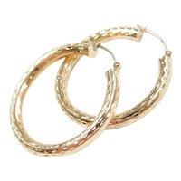 Diamond Cut Hollow Tubular Hoop Earrings 14k Gold