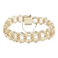 "Vintage Triple Link Charm / Fashion Bracelet 14k Gold 7 5/8"" Length, 23.4 Grams"