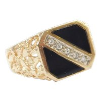 Gents Black Onyx and Diamond .05 ctw Ring 10k Gold ~ Men's
