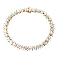 "Faux Diamond 5.60 ctw S Link Tennis Bracelet 14k Gold 6 1/2"" Length, 13.0 Grams"