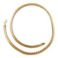 "Flat Woven Link Chain 14k Gold 16 5/8"" Length, 9.5 Grams"