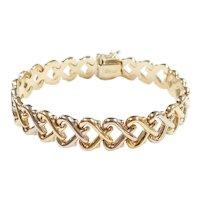 """Heart Link Bracelet 14k Gold Two-Tone 7"""" Length, 17.4 Grams"""