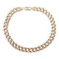 """Hollow Curb Link Anklet 10k Rose Gold 9 1/2"""" Length, 14.0 Grams"""
