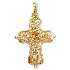 Citrine .85 Carat Ornate Hollow Cross Pendant 14k Gold