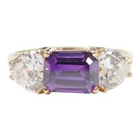 Faux Amethyst and Heart Cut Faux Diamond 3.10 ctw Three Stone Ring 10k Gold