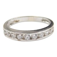 Faux Diamond .54 ctw Wedding Band Ring 10k White Gold