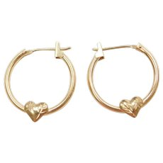 14k Gold Hoop Earrings with Heart Accent
