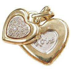 10k Gold Two-Tone Diamond LOVE Heart Pendant