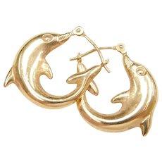 14k Gold Small Dolphin Hoop Earrings