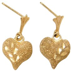 14k Gold Small Textured and Diamond Cut Heart Drop Dangle Earrings