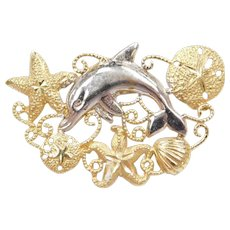 14k Gold Dolphin Nautical Filigree Pendant Two-Tone