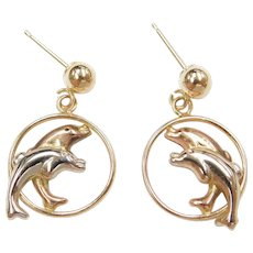 14k Gold Tri-Color Dolphin Dangle Earrings