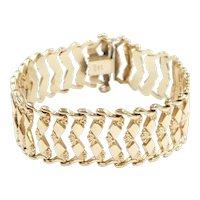 """Retro Wide Panel Bracelet 14k Gold 7 1/2"""" Length, 20.6 Grams"""