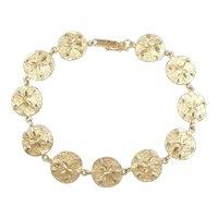 """Nautical Sand Dollar Bracelet 14k Gold 7 3/8"""" Length, 10.0 Grams"""