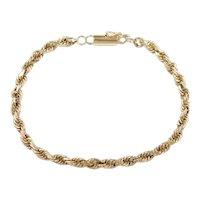 """Diamond Cut Rope Bracelet 14k Gold 6 7/8"""" Length, 7.1 Grams"""