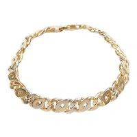 "Gents Solid Interlocking Curb Link Bracelet 14k Gold Two-Tone 8 1/4"" Length, 39.5 Grams"