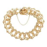 "Vintage Chunky Triple Link Charm Bracelet 14k Gold 7 1/2"" Length, 40.5 Grams"